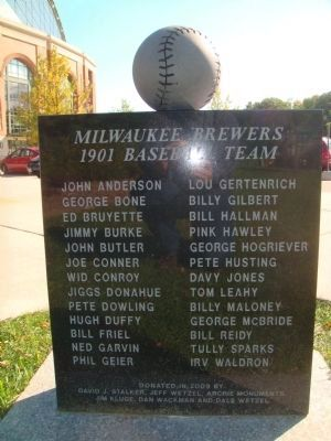 Milwaukee Brewers 1901 Baseball Team - Back of Marker image. Click for full size.