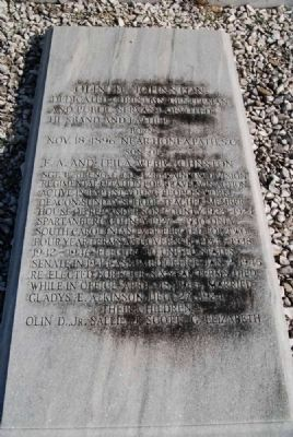 Olin D. Johnston Tombstone<br>Barkers Creek Baptist Church Cemetery image. Click for full size.