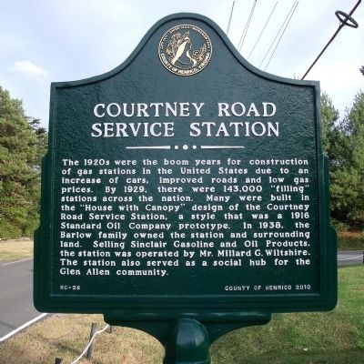 Courtney Road Service Station Marker image. Click for full size.