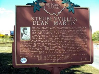 Steubenville's Dean Martin Marker image. Click for full size.