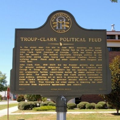 Troup-Clark Political Feud Marker image. Click for full size.