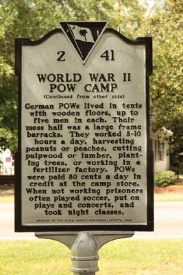 World War II POW Camp Marker, reverse side Photo, Click for full size