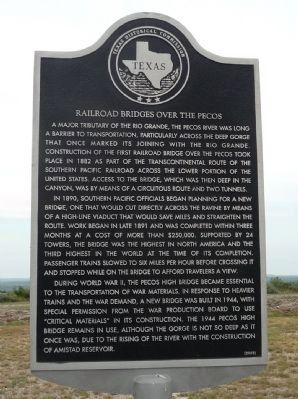 Railroad Bridges Over the Pecos Marker image. Click for full size.