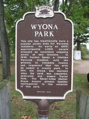 Wyona Park Marker image. Click for full size.