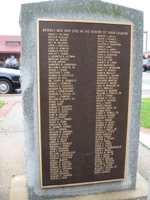 Beverly World War II Memorial image. Click for full size.