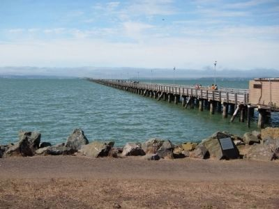Berkeley Municipal Pier and Marker - Wide View Photo, Click for full size