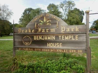 Drake Farm Park/Benjamin Temple House sign image. Click for full size.