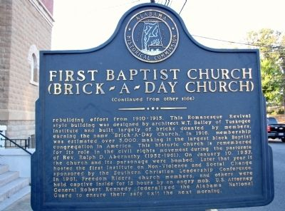 First Baptist Church (Brick-A-Day Church) Marker image. Click for full size.