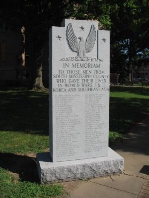 South Mississippi County War Memorial Marker image. Click for full size.