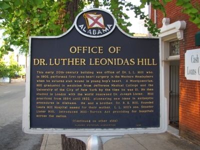 Office of Dr. Luther Leonidas Hill Marker image. Click for full size.