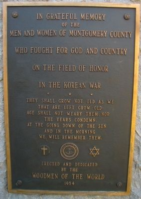 Montgomery County Korean War Veterans Marker image. Click for full size.