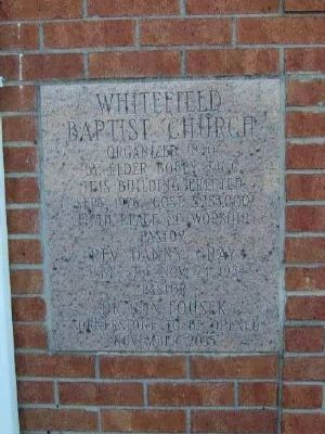 Whitefield Baptist Church -<br>Fifth Sanctuary<br>Cornerstone image. Click for full size.