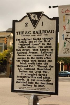 The S.C. Railroad Marker, reverse side image. Click for full size.