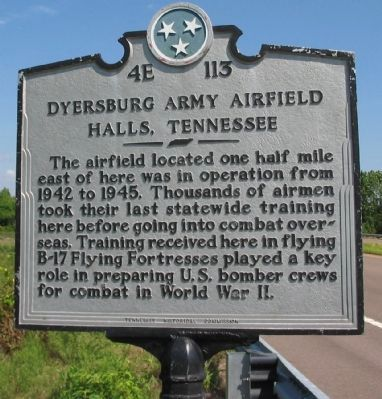 Dyersburg Army Airfield Marker image. Click for full size.