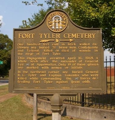 Fort Tyler Cemetery Marker Photo, Click for full size
