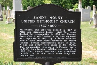 Sandy Mount United Methodist Church Marker image. Click for full size.
