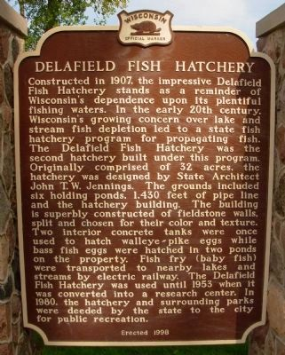 Delafield Fish Hatchery Marker image. Click for full size.