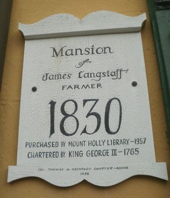 Mansion of James Langstaff Marker image. Click for full size.