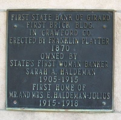 First State Bank of Girard Marker image. Click for full size.