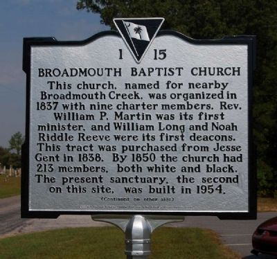 Broadmouth Baptist Church Marker - Front image. Click for full size.