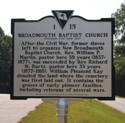 Broadmouth Baptist Church Marker - Reverse image. Click for full size.