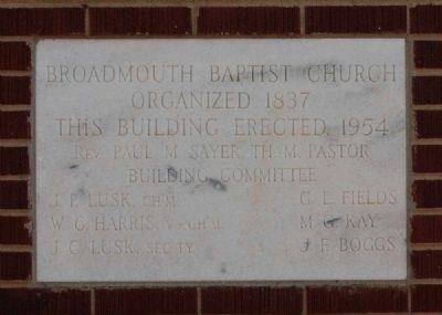 Broadmouth Baptist Church Cornerstone image. Click for full size.