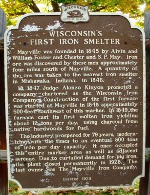 Wisconsin�s First Iron Smelter Marker image. Click for full size.