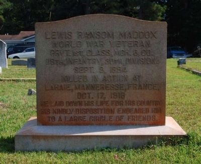 Lewis Ransom Maddox Tombstone image. Click for full size.