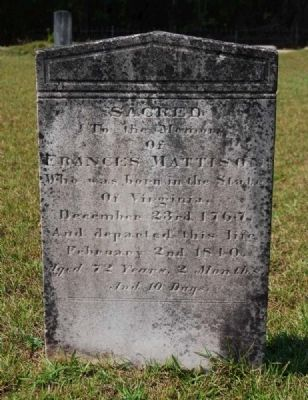 Frances Mattison Tombstone image. Click for full size.