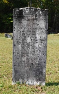 James Mattison Sr. Tombstone image. Click for full size.