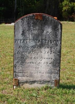 Wyatt Mattison Tombstone image. Click for full size.
