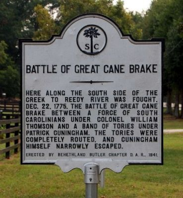 Battle of Great Cane Break Marker -<br>Current Location on Fork Shoals Road Photo, Click for full size