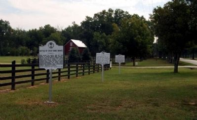 Battle of Great Cane Brake Marker -<br>Current Location on Fork Shoals Road Photo, Click for full size
