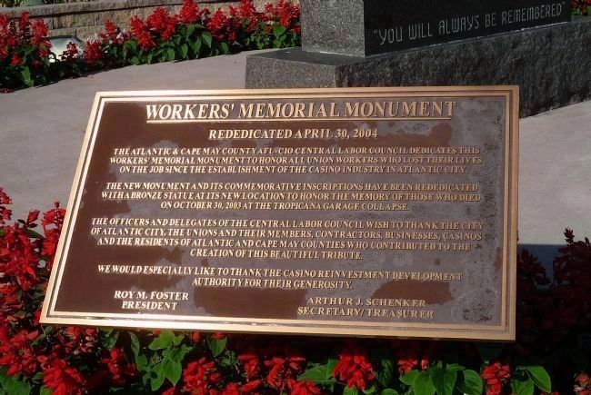Workers' Memorial Monument - Rededication Plaque - April 30, 2004 image. Click for full size.