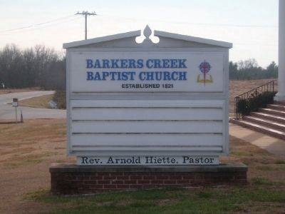 Barkers Creek Baptist Church Sign image. Click for full size.