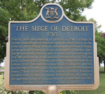 The Siege of Detroit 1763 Marker image. Click for full size.