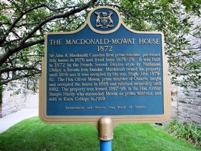 The Macdonald-Mowat House Marker - west (street-facing) side image. Click for full size.