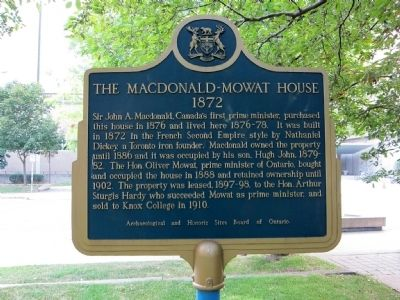 The Macdonald-Mowat House Marker - east (building-facing) side image. Click for full size.