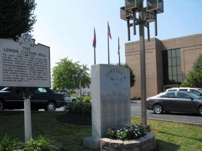 The Lenoir Cotton Mill Marker and Company B Korean War Memorial image. Click for full size.