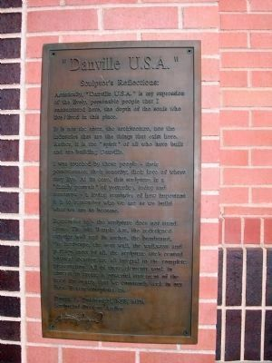 """Danville U.S.A."" - Sculptor's Reflections - Plaque image. Click for full size."