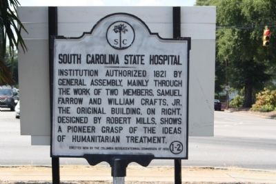 South Carolina State Hospital Marker, Hidden behind sign at Bull Street image. Click for full size.