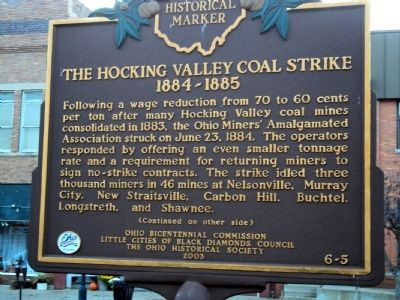 The Hocking Valley Coal Strike Marker image. Click for full size.