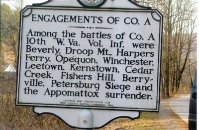 Engagements of Co. A Marker image. Click for full size.