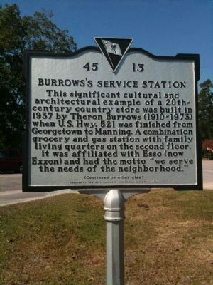 Burrows's Service Station Marker (front) image. Click for full size.