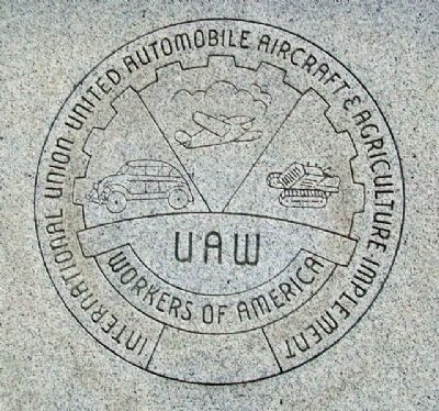 U.A.W. Emblem on Back of Truman Memorial image. Click for full size.