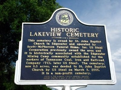 Historic Lakeview Cemetery Marker image. Click for full size.