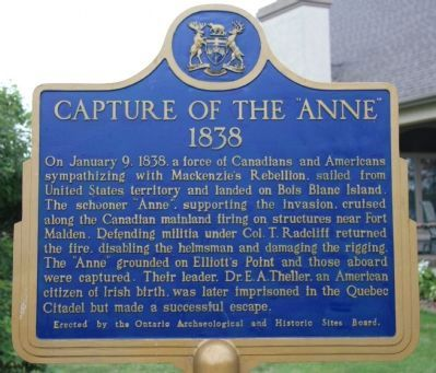 Capture of the Anne, 1838 Marker image. Click for full size.
