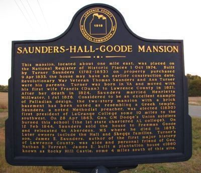 Saunders~ Hall~ Goode Mansion Marker image. Click for full size.