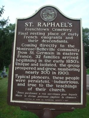 St. Raphael's Frenchtown Cemetery Marker Photo, Click for full size