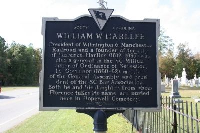 William W. Harllee Marker (reverse view) image. Click for full size.